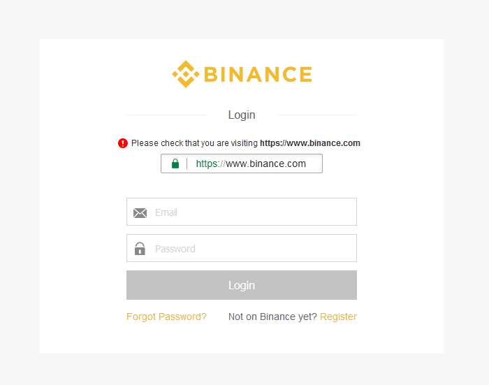 Login bei Binance